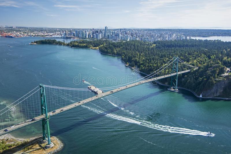 Aerial image of Lions Gate Bridge, Vancouver, BC stock images