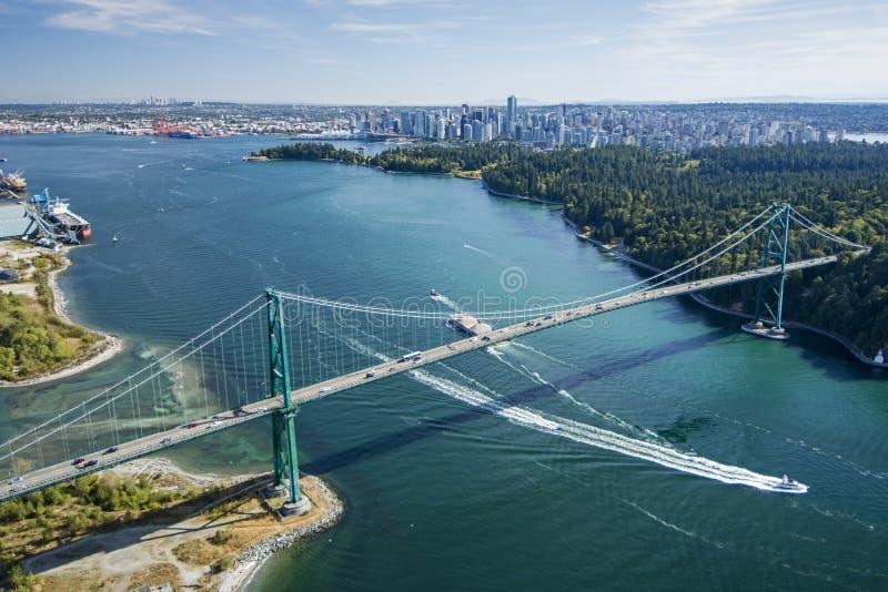 Aerial image of Lions Gate Bridge, Vancouver, BC stock photo