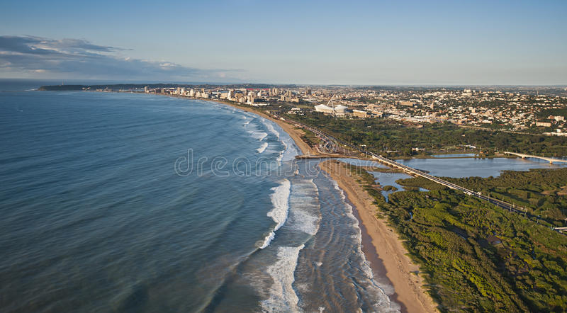 Aerial image looking towards Durban. An aerial image of Durban, South Africa on a clear morning royalty free stock image