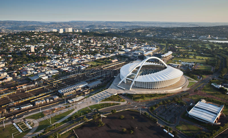 Aerial image of Moses Mabhida Stadium Durban. An aerial image of Moses Mabhida Stadium Durban, South Africa on a clear morning royalty free stock photo