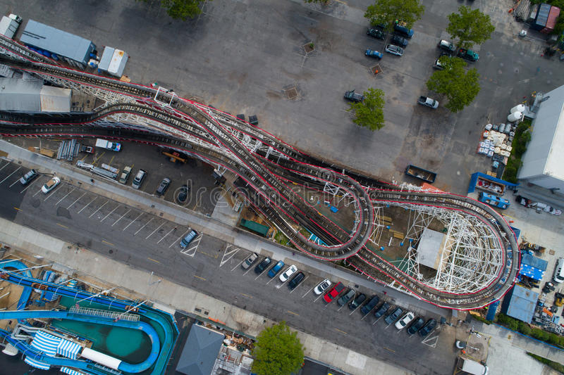 Aerial image over a roller coaster at a theme park royalty free stock photo