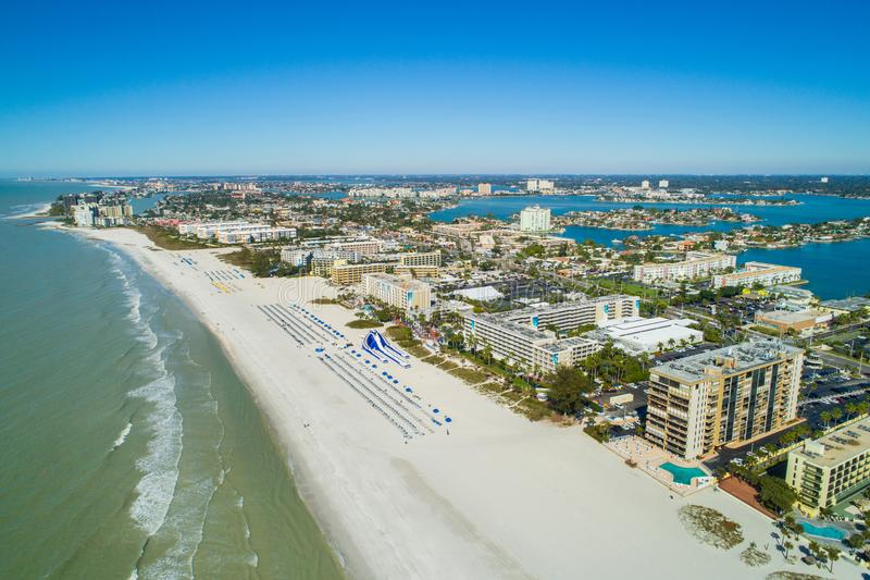 Aerial image of resorts on St Pete Beach FL. Aerial drone image of hotels and resorts on St Pete Petersburg Beach Florida USA stock photos