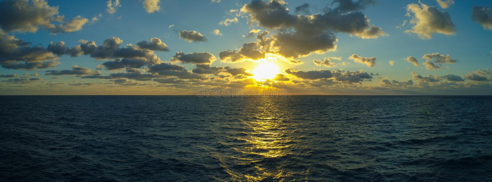 Aerial panorama amasing sunrise or sunset over ocean stock images