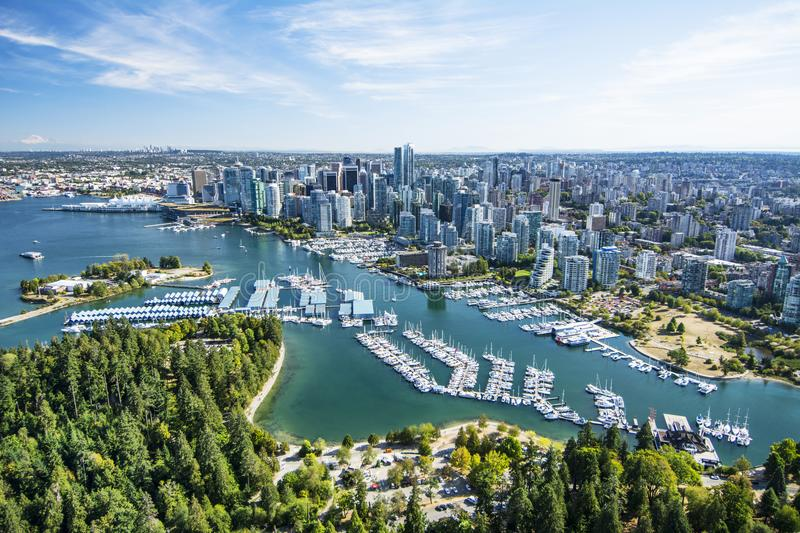 Aerial image of Vancouver, BC stock photography