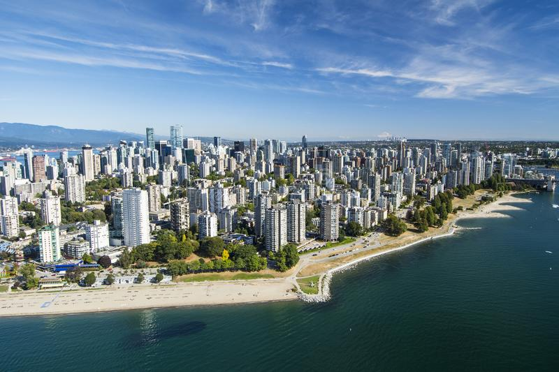 Aerial image of Vancouver, BC stock photo