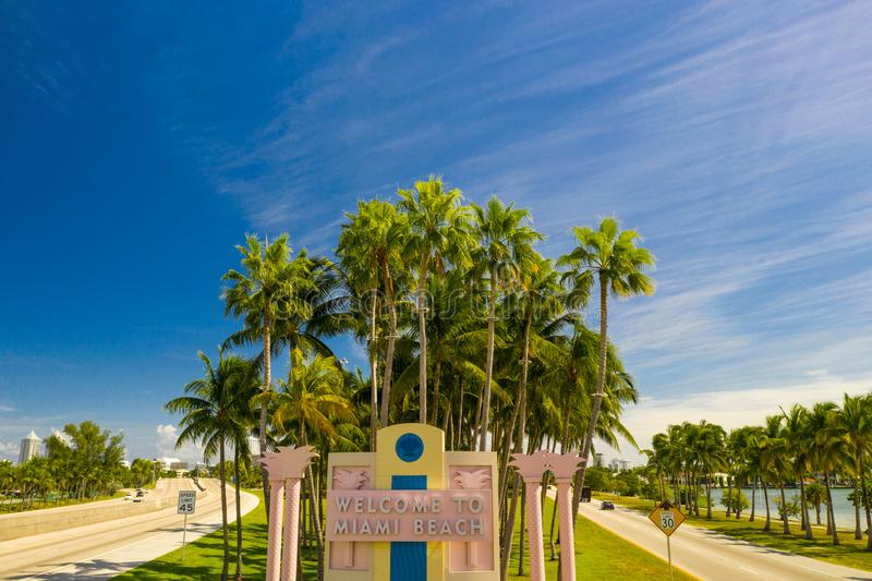 Aerial image Welcome to Miami Beach road sign. USA stock images