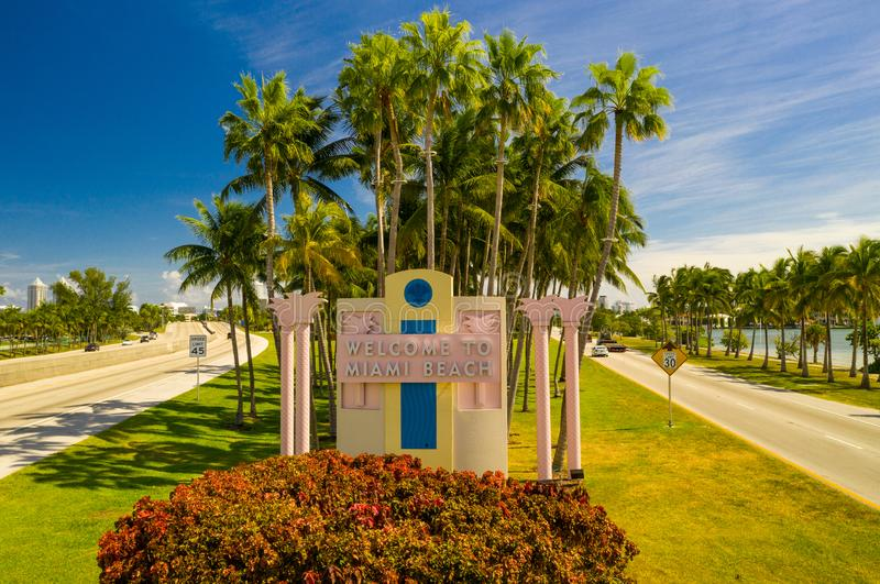 Aerial image Welcome to Miami Beach road sign. Aerial drone image Welcome to Miami Beach road sign royalty free stock images