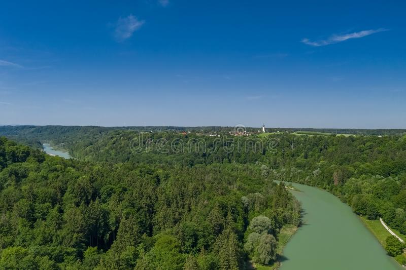 An aerial of the Isar river in the South of Munich. stock photo