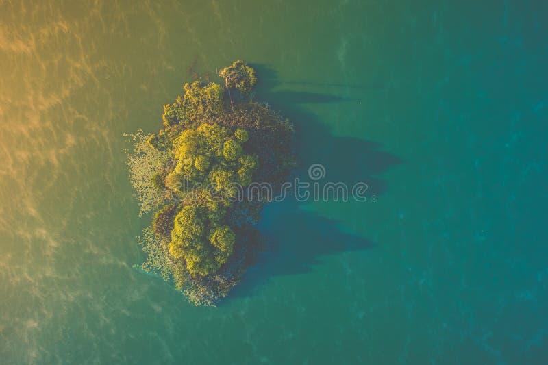Aerial island on lake royalty free stock photos
