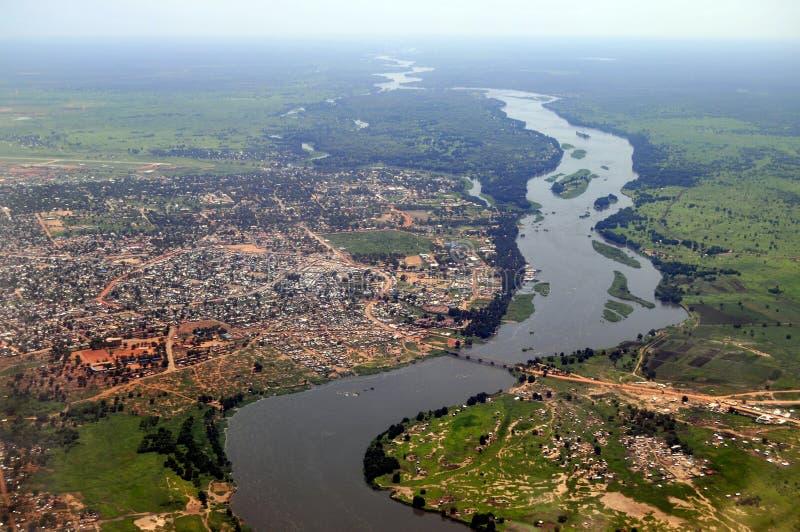 Aerial of Juba, capital of South Sudan stock photo