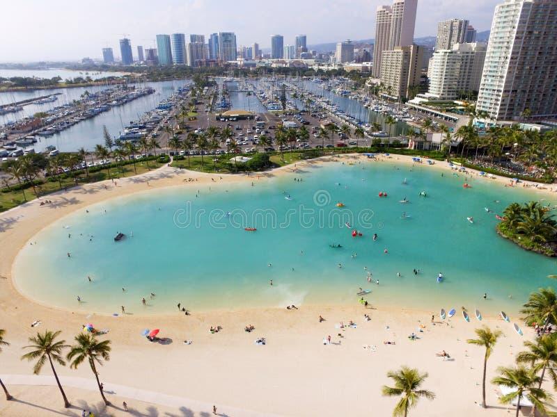 Aerial of Lagoon on the island of Oahu in Honolulu, Hawaii stock photo