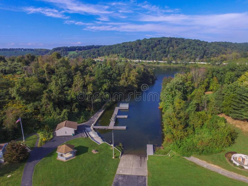 Aerial of Lake Redman in William Kain Park in Jacobus, Pennsylvania royalty free stock photos