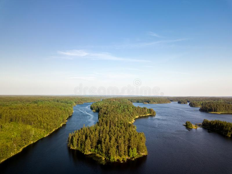 Aerial lake view stock photography