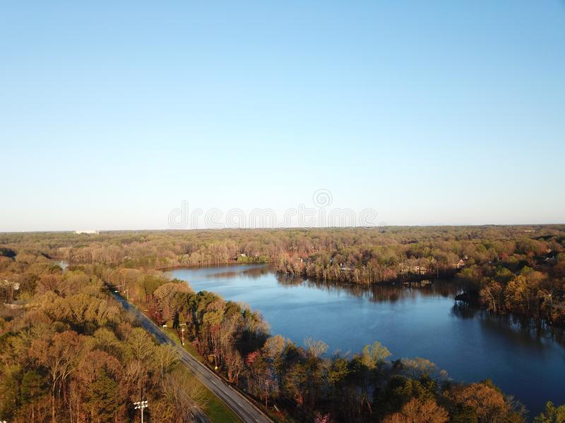 Aerial lakeside view stock image