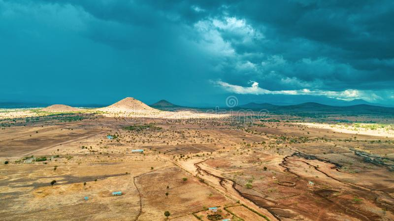 Aerial landdcape of the masaai land in Arusha, Tanzania. Aerial landdcape of the masaai land in Tanzania stock photography