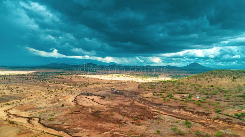Aerial landdcape of the masaai land in Arusha, Tanzania. Aerial landdcape of the masaai land in Tanzania stock photo
