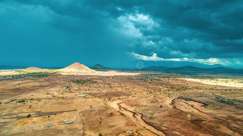 Aerial landdcape of the masaai land in Arusha, Tanzania. Aerial landdcape of the masaai land in Tanzania royalty free stock image