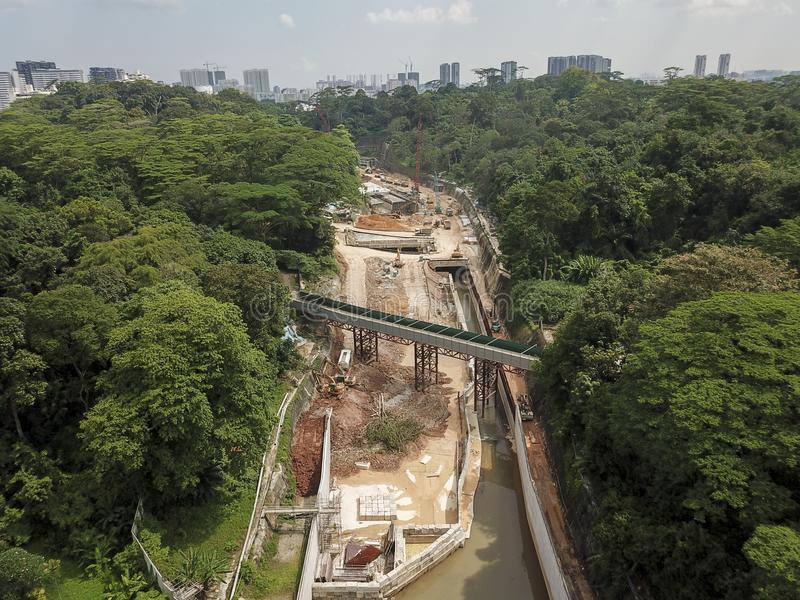 Aerial Landscape of construction site. Drone aerial photo of the construction of a large canal, at Old Holland, Singapore royalty free stock photos