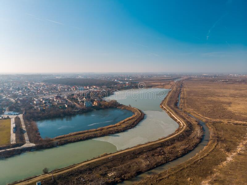 Aerial landscape of the Dambovita River close to Morii Lake , Bucharest, Romania.  stock images