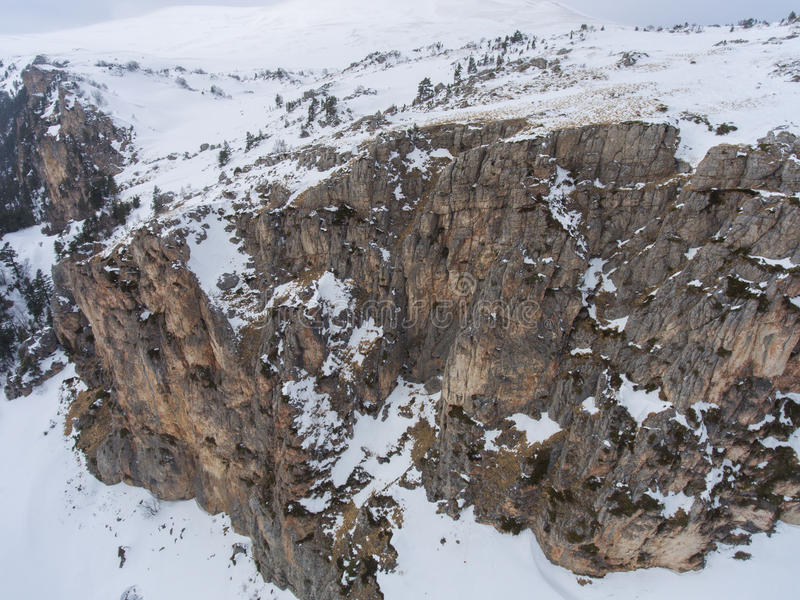 Aerial landscape. Drone photo. Rocky plateau. Aerial landscape. Drone photo. Rocky plateau in the winter stock images