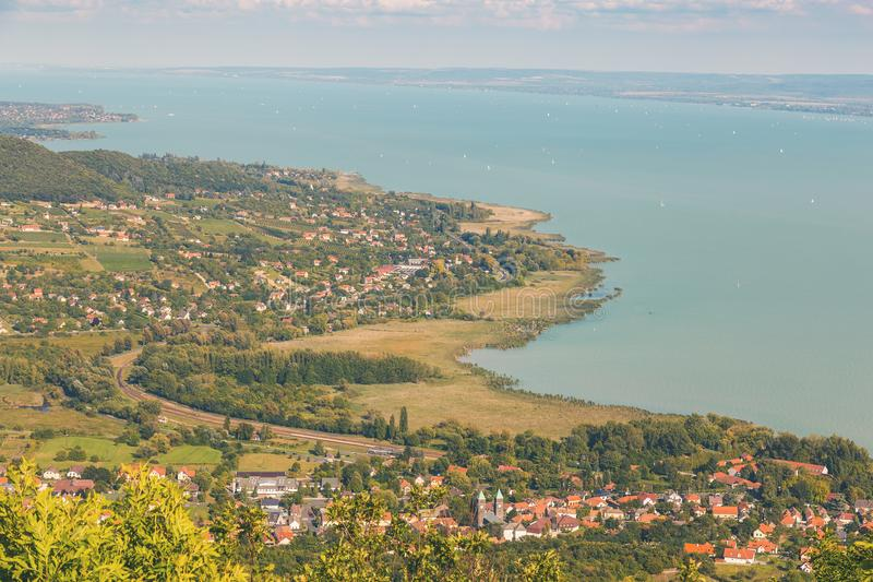 Aerial landscape fro a lake Balaton in Hungary royalty free stock images