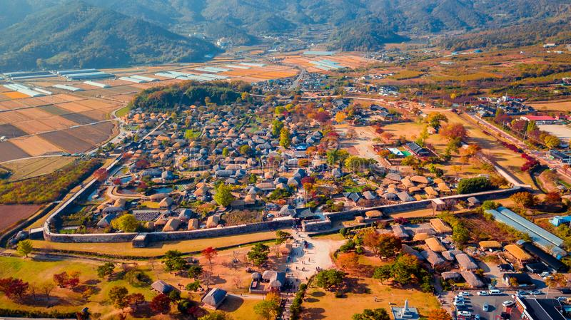 Aerial landscape of hanok village in Jeonju, South Korea. royalty free stock photo
