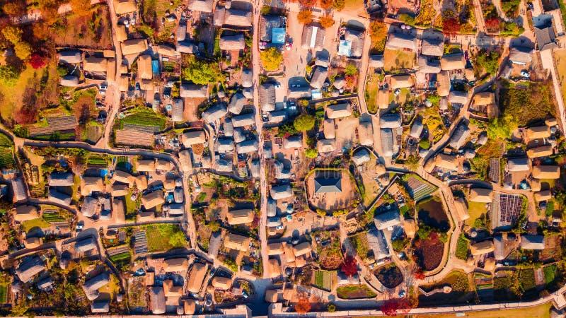 Aerial landscape of hanok village in Jeonju, South Korea. royalty free stock photography