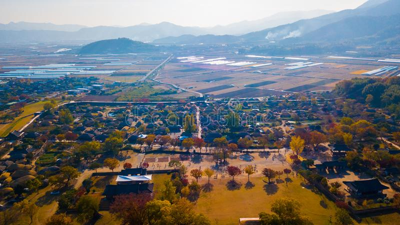 Aerial landscape of hanok village in Jeonju, South Korea. royalty free stock photo