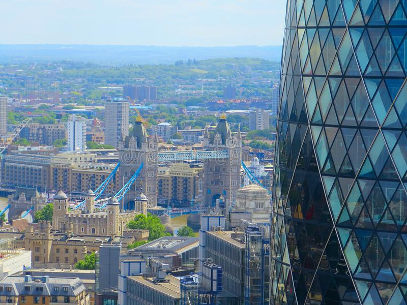 Aerial landscape on London tower bridge and gherkin. aerial view of Tower Bridge and gherkin London. London cityscape. royalty free stock images