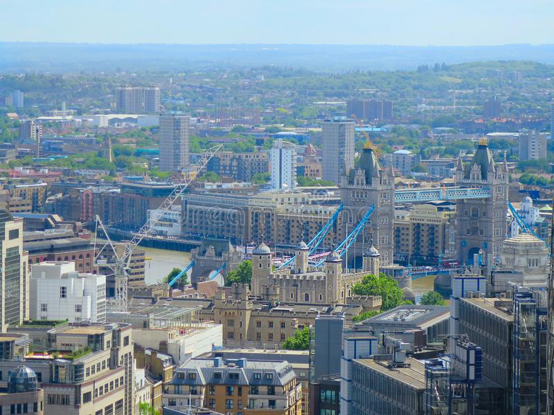 Aerial landscape on London tower bridge. aerial view of Tower Bridge in London. London cityscape. royalty free stock photography