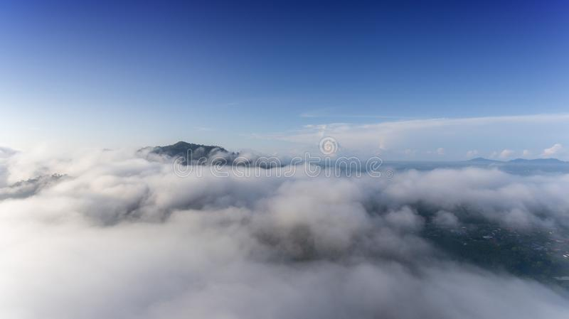 Aerial Landscape of morning mist stock photography
