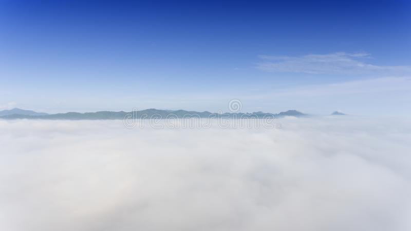 Aerial Landscape of morning mist stock photo