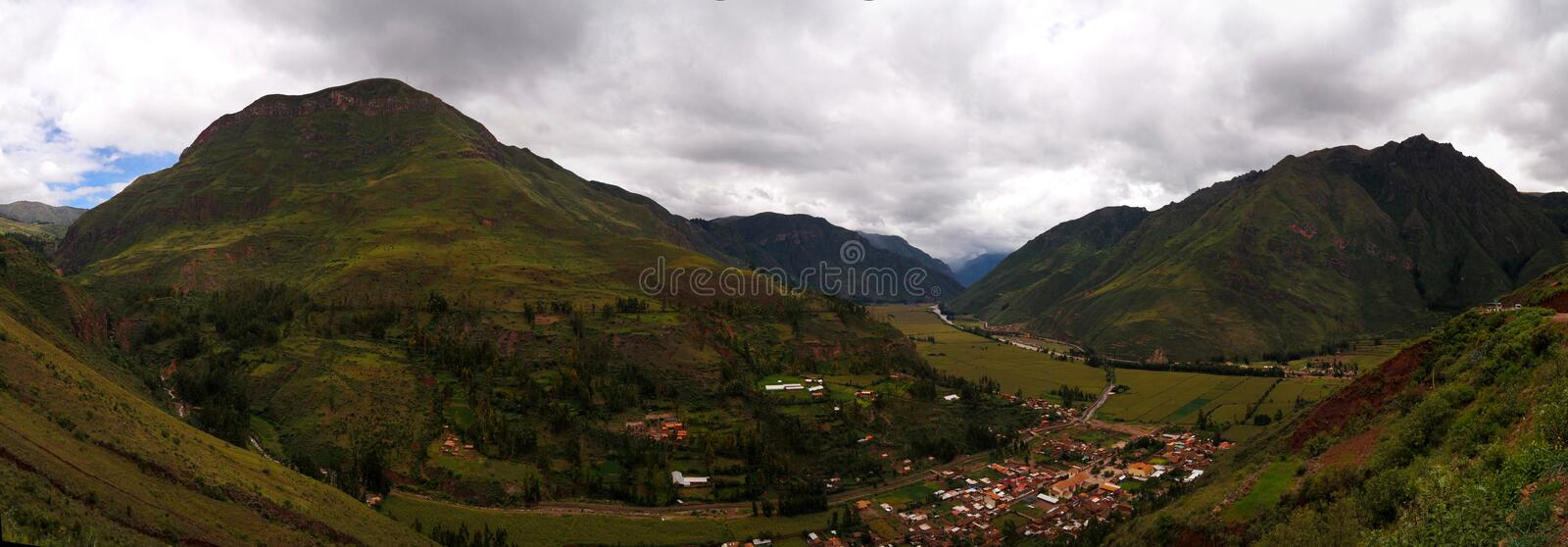 Aerial Landscape panoramic view to Urubamba river and sacred valley from Taray viewpoint near Pisac, Cuzco, Peru. Aerial Landscape panoramic view to Urubamba stock photography