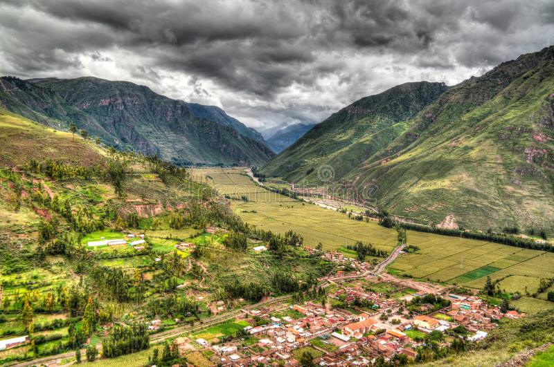 Aerial Landscape panoramic view to Urubamba river and sacred valley from Taray viewpoint near Pisac, Cuzco, Peru. Aerial Landscape panoramic view to Urubamba stock photos