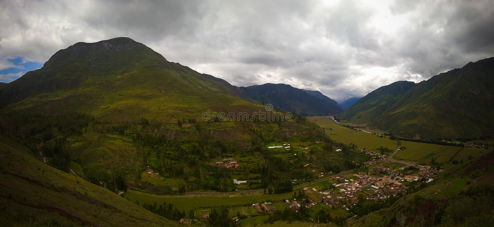 Aerial Landscape panoramic view to Urubamba river and sacred valley from Taray viewpoint near Pisac, Cuzco, Peru. Aerial Landscape panoramic view to Urubamba royalty free stock photo