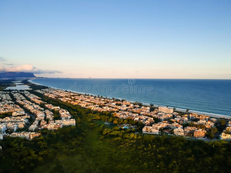 Aerial landscape photo of Recreio dos Bandeirantes beach during sunset, with views of Chico Mendes park stock photography