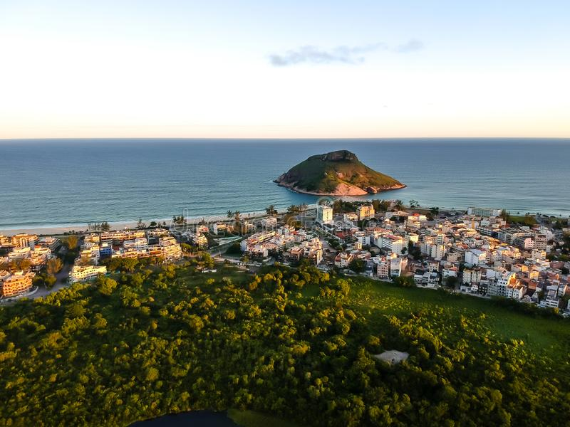 Aerial landscape photo of Recreio dos Bandeirantes beach during sunset, with views of Chico Mendes park and the Pontal royalty free stock images