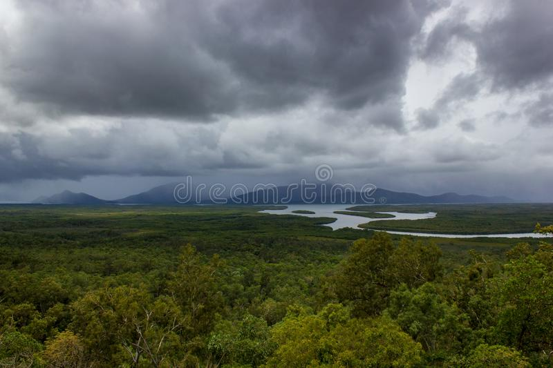 Aerial landscape view of Barron Gorge National Park a World Heritage in Atherton Tablelands Cairns Highlands at the Wet Tropics of. Queensland australia royalty free stock photo