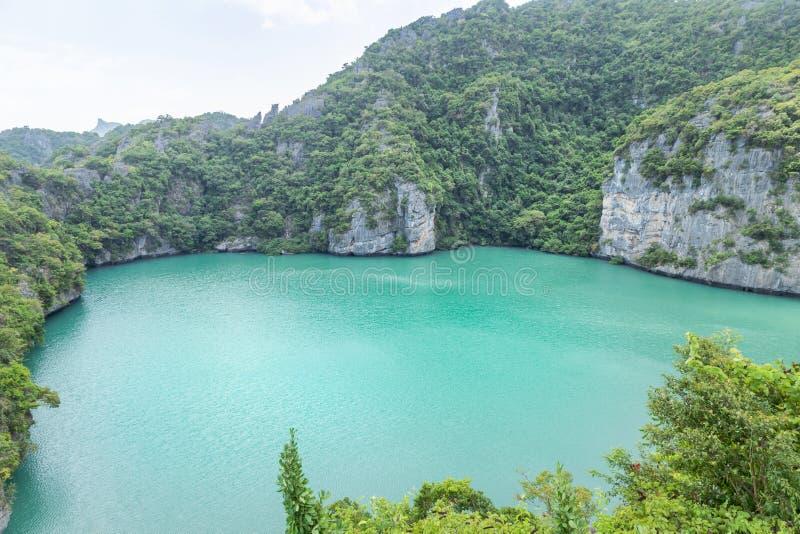 landscape view of Thale Nai lagoon emerald saltwater lake or crystal lagoon at Mae Koh island in Mu Ko Ang Thong National Park, T royalty free stock photo