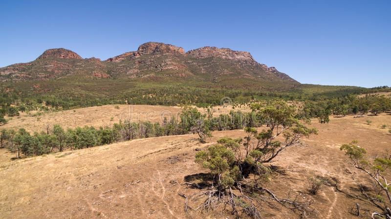 Aerial landscape view of the Western Escarpment of Wilpena Pound. In the Flinders Ranges, South Australia royalty free stock photo