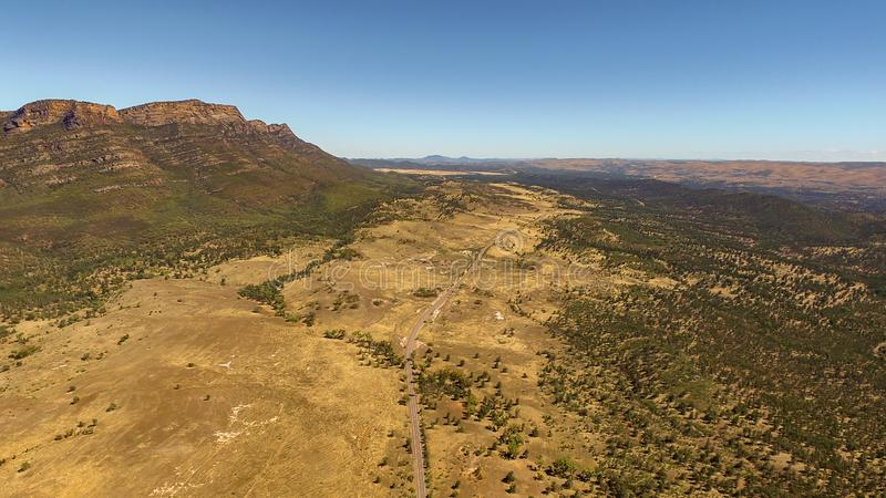 Aerial landscape view of the Western Escarpment of Wilpena Pound. In the Flinders Ranges, South Australia royalty free stock image
