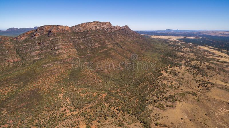 Aerial landscape view of the Western Escarpment of Wilpena Pound. In the Flinders Ranges, South Australia royalty free stock photos