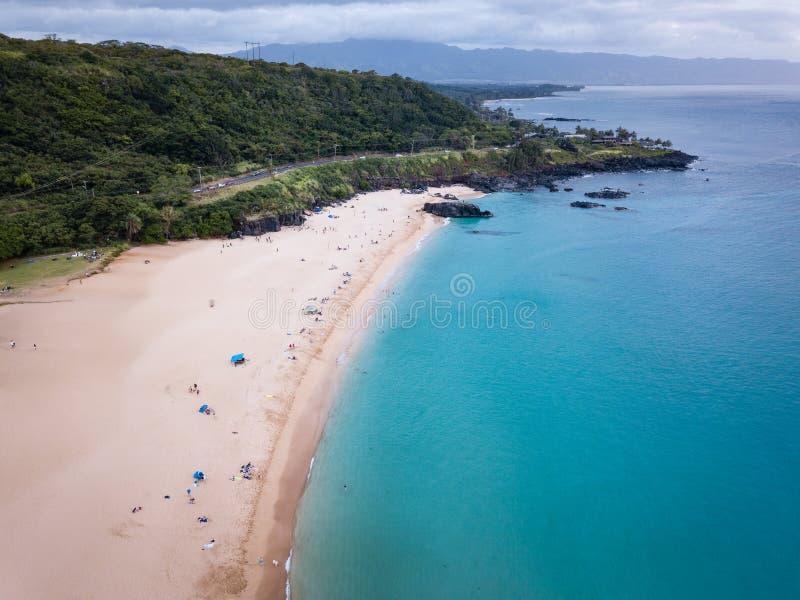 Waimea Beach Landscape at Dusk. Aerial landscape of Waimea Bay Beach Park on Oahu, Hawaii north shore, shown near sunset royalty free stock images