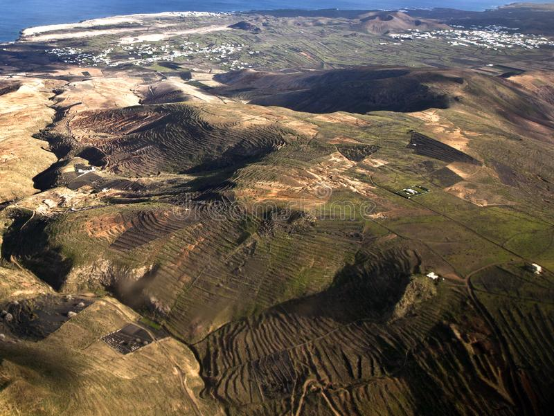 Aerial of Lanzarote with wind power plant stock images