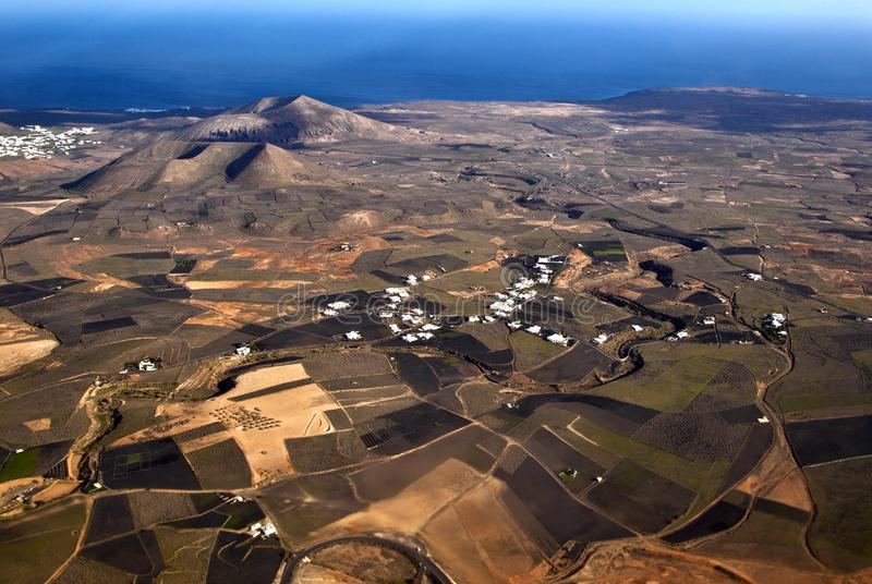 Aerial of Lanzarote with wind power plant stock photography