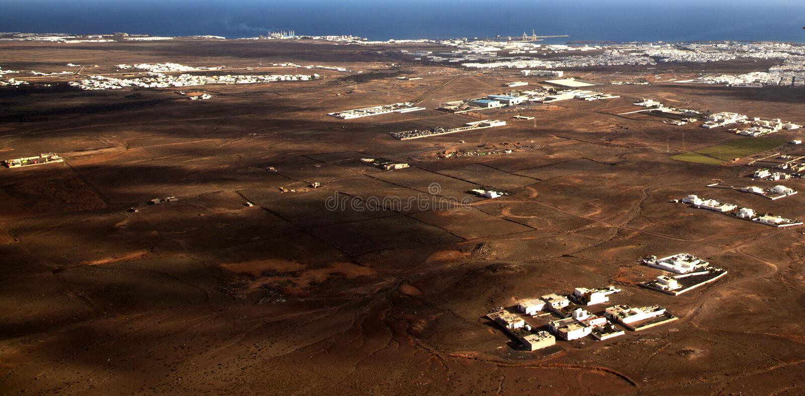 Aerial of Lanzarote with wind power plant royalty free stock photos