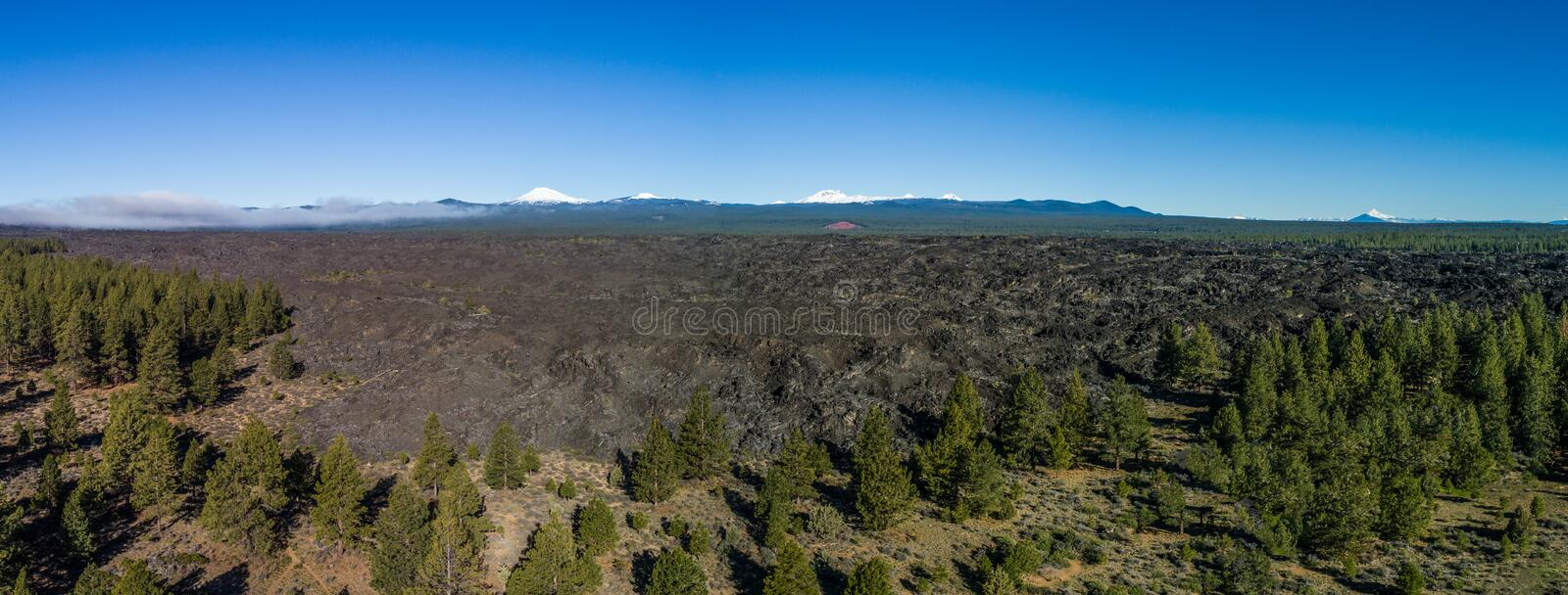 Aerial of Lava Flow panorama near Bend, Oregon stock photos