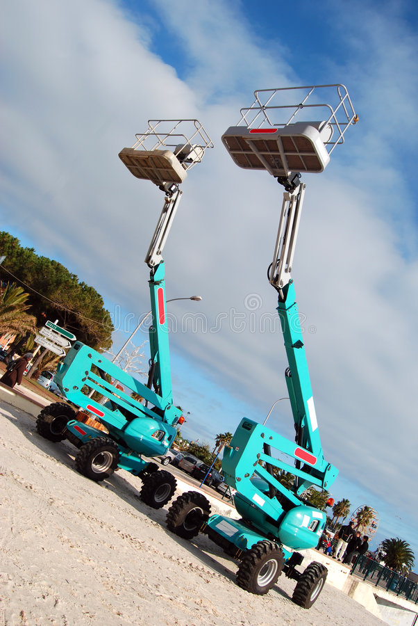 Aerial lifts stock photography
