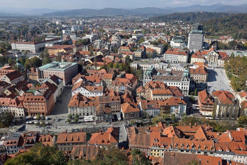 Aerial Ljubljana Slovenia. Aerial Downtown Cityscape Ljubljana Slovenia royalty free stock photo
