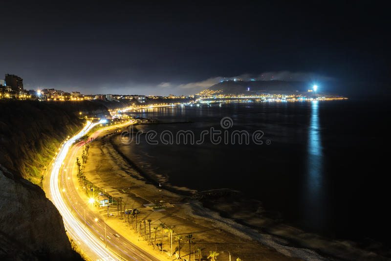Aerial long exposure of Circuito de Playas from Miraflores, Lima. Peru at night stock photos